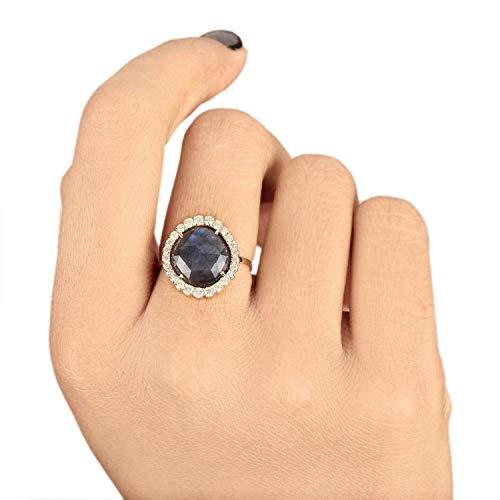 Genuine 3.80 Ct. Labradorite Gemstone Cocktail Ring Diamond Wedding Jewelry Solid 14k Yellow Gold Handmade Fine Jewelry Christmas Day Gift For Her ()