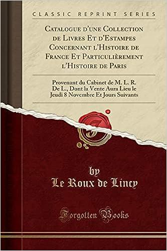 Catalogue D Une Collection De Livres Et D Estampes