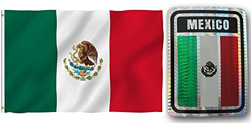 Wholesale Combo Set Mexico Country 3x5 3'x5' Flag and Decal Fade Resistant Double Stitched Premium Penant House Banner -