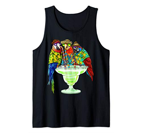 Parrots Drinking Margarita Hawaiin Shirt Vacation Birds Tank Top