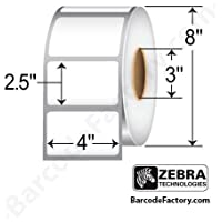 Zebra Technologies 10002627 Z-Ultimate 4000T Polyester Label, Thermal Transfer, Perforated, 4 x 2.5, 3 Core, 8 OD, 2240 Labels per Roll (Pack of 4)
