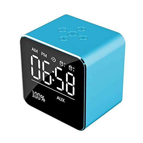 - Sammid Home Speaker, Bluetooth Portable Speaker with LCD Display Alarm Snooze Function Mirror Clock Loud Speaker Music Player Support 3.5mm Audio or TF/Micro SD Card or Bluetooth Playing - Blue