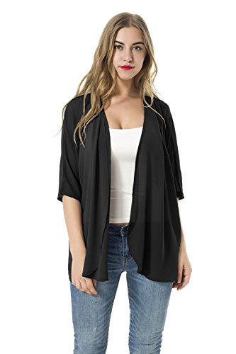 - XINAO Women's Open Front Casual Solid Comfy Light Short Sleeve Chiffon Cardigan (Black, XL)
