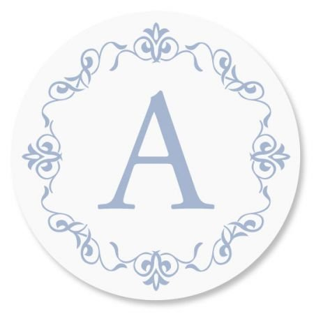 Personalized Ornate Initial Envelope Seals - Set of 144 Self-Adhesive, Flat-Sheet, 1-1/2