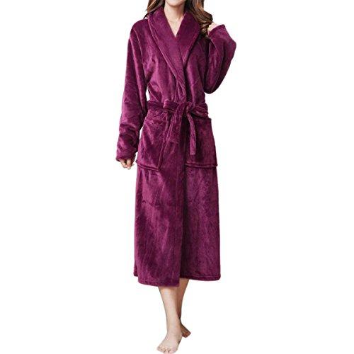 LAPAYA Women's Long Kimono Robe Soft Fuzzy Shawl Collar Warm Plush Fleece Bathrobe, Purple, Large