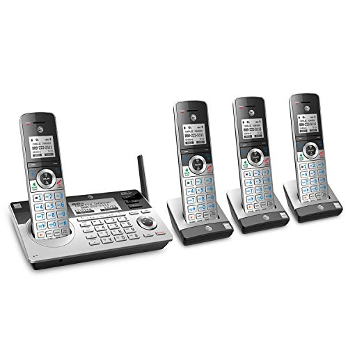 AT&T TL96477 DECT 6.0 Expandable Cordless Phone with Bluetooth Connect to Cell, Smart Call Blocker and Answering System, Silver/Black with 4 Handsets (Renewed)