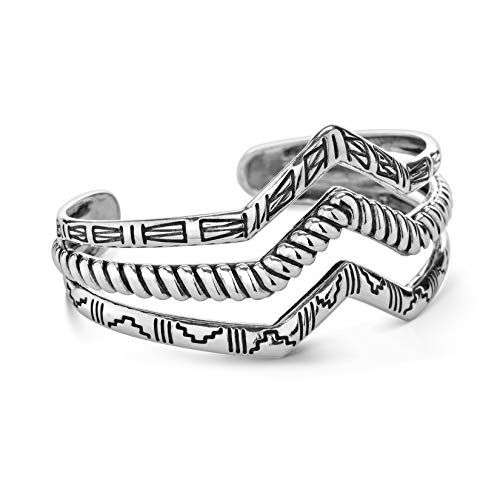 American West Sterling Silver Native Motif Triple Chevron Cuff Bracelet Size Large