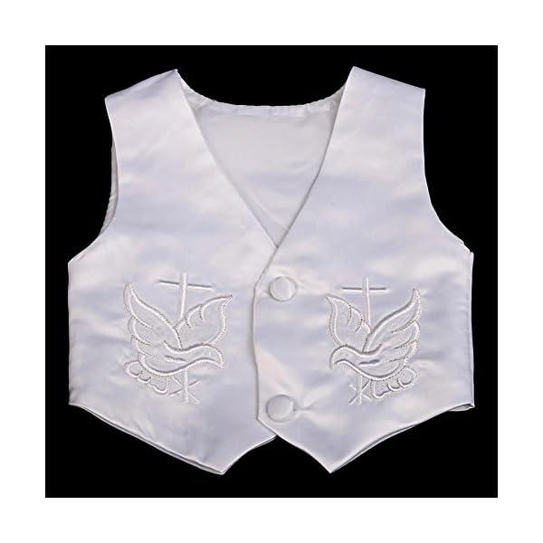 Lito Angels - Tuta da battesimo in raso, 4 pezzi, con cofano a maniche corte e lunghe 6