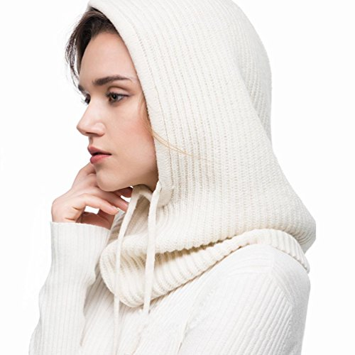 FINCATI Winter Fall Hat Balaclavas Cashmere Blending Outdoor Sports Warmer Windproof Outdoor Sports White Drawstring Scarves (White) by FINCATI (Image #2)