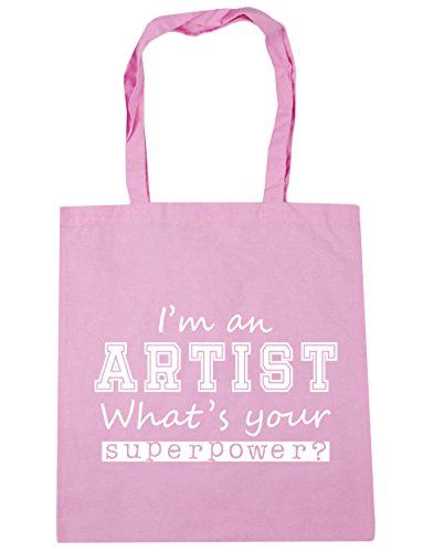 HippoWarehouse I'm an Artist What's Your Superpower? Tote Shopping Gym Beach Bag 42cm x38cm, 10 litres Classic Pink