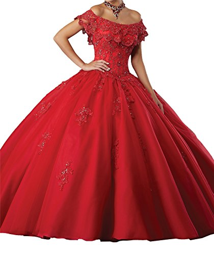 New Gown Quinceanera (MFandy New Sweet Girls 15 16 Off Shoulder Ball Gowns Lace Women Quinceanera Dress 2 US Red)