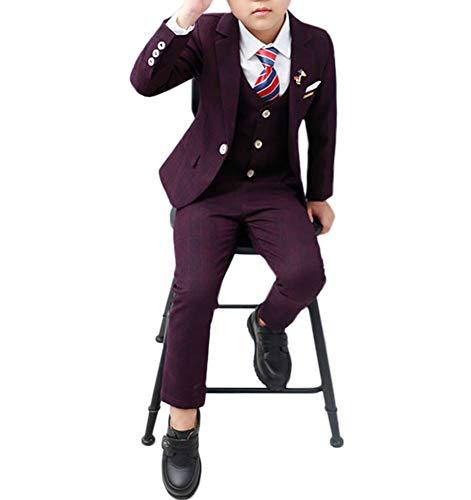 Toddler Boys' 3 Piece Classic Fit No Tail Formal Dress Suit Set with Blazer Pants and Vest Size 7 8 Purple 130 cm