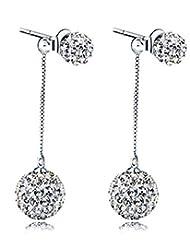 Richy-Glory - S925 Silver Double Ball CZ Crystal Drop Earring