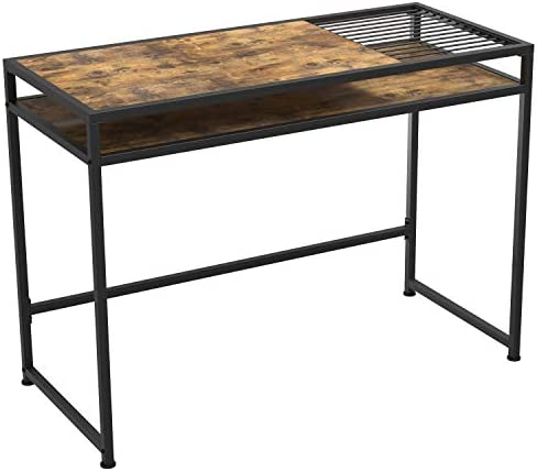 IRONCK Industrial Computer Desk, 42 Office Desk with 2-Layer Desktop and Stable Metal Frame, Simple Study Table, Industrial Style Writing Study Table for Home Office