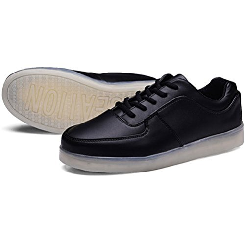 (Present:kleines Handtuch)JUNGLEST® Damen Herren LED Licht Schuhe Sneaker Turnschuhe Sportschuhe Leuchtschuhe USB Auflad Schwarz