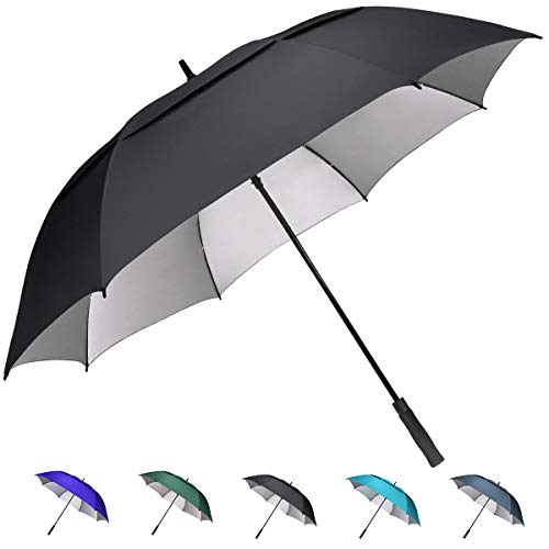 G4Free 62 inch Extra Large Windproof Golf Umbrella Automatic Open Umbrella Double Canopy Vented Anti UV Sun Protection Waterproof Oversize Stick Umbrellas for Men Women (Black)