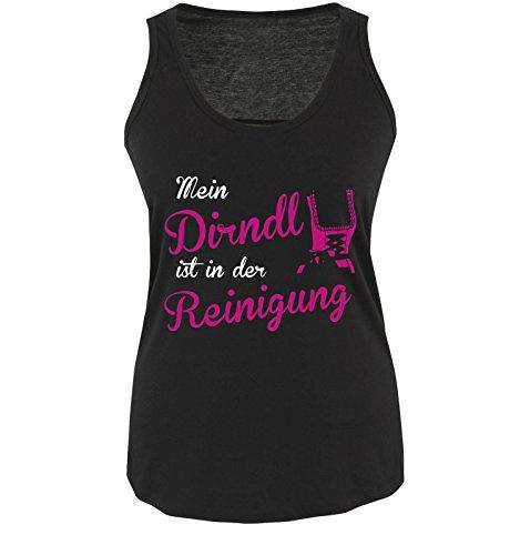 OKTOBERFEST REINIGUNG DIRNDL - Damen Tank Top Schwarz / Weiss-Pink Gr. S