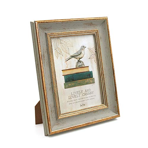 Afuly Vintage Picture Frame 5x7 Antique Photo Frames in Green and Gold -Made of Recycled PS and Glass Wide Mounting for Desk and Wall Hanging