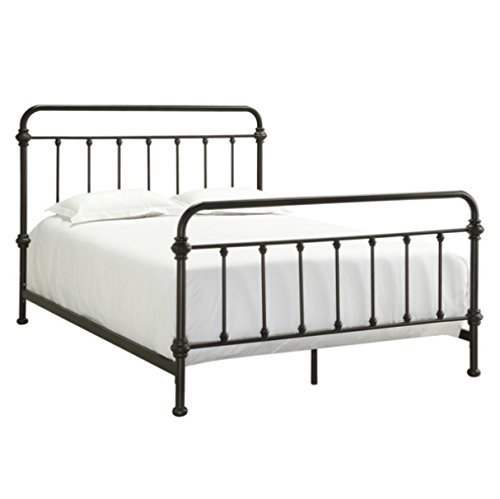 TRIBECCA home Wrought Iron Bed Frame Dark Bronze Metal Queen Size USA Vintage Look Shabby Chic French Country (Queen) ()