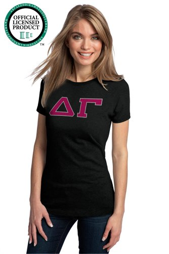 Ann Arbor T-shirt Co. Women's DELTA GAMMA Fitted T-Shirt Hot Pink Letters