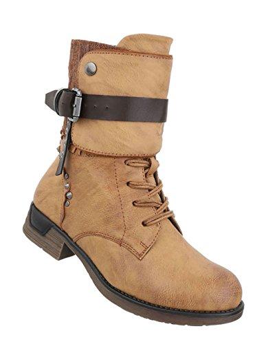 Damen Schuhe Stiefeletten Schnürer Used Optik Boots Camel - liv ... 79cc5ad951