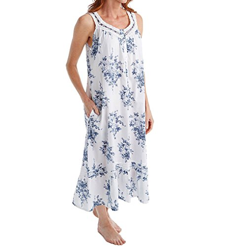 (La Cera 100% Cotton Sleeveless Floral Lace Yoke Gown (1211G) XL/White/Blue)