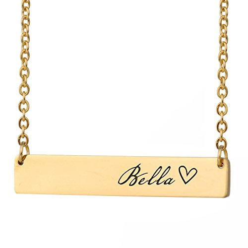 HUAN XUN Bella Name Kids Name Necklace Bar Initial Necklace Personal Jewelry Birthday Valentine Gift