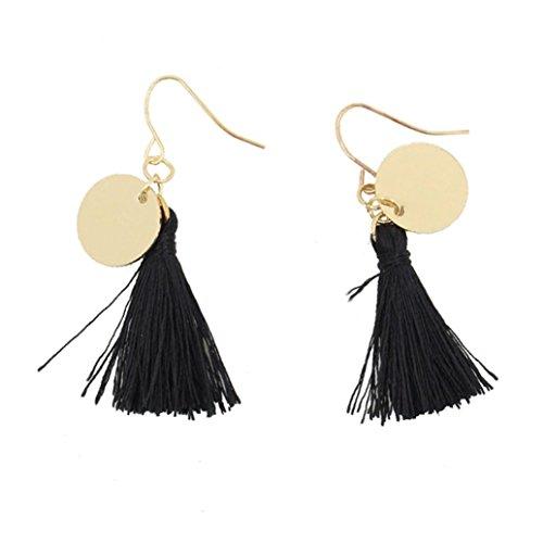 DDLBiz Fashion Baroque Style Dangle Earrings Women Long Tassel Party Jewelry (Black)