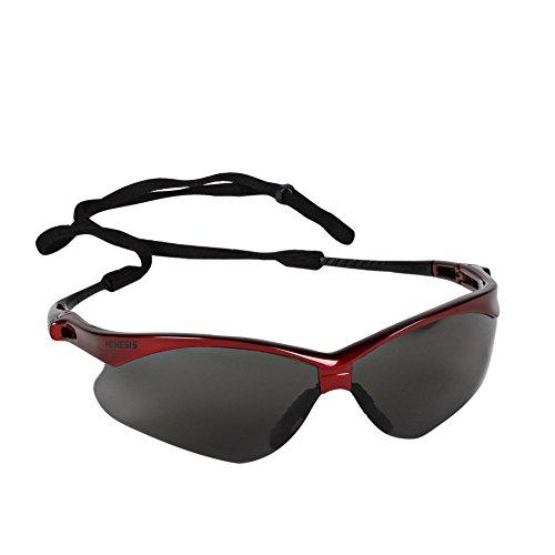Jackson Safety 22611 V30 Nemesis Safety Glasses, Smoke Lenses with Inferno/Red Frame (Pack of 12)