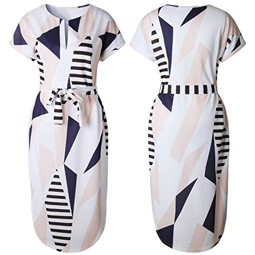19b8bc4a68dc ECOWISH Womens Dresses Summer Casual V-Neck Floral Print Geometric Pattern  Belted Dress Beige XS