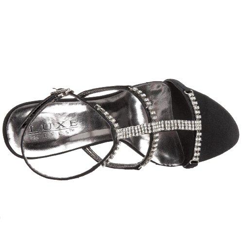 Pleaser Sandaletten Jewel-27 Schwarz Triband Strass Blk Satin