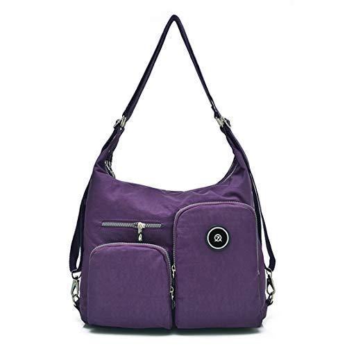 TianHengYi Womens Multifunctional Water Resistant Nylon Shoulder Bag Solid Travle Backpack Organizer Purple