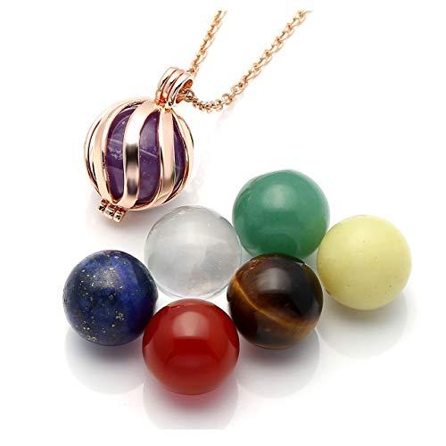 Top Plaza 7 Chakra Crystal Healing Stones Balls Necklace Reiki Yoga Meditation Locket Pendant - Twisted Ball(Rose ()