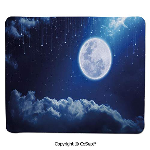 Non-Slip Rubber Base Mousepad,Full Moon Mysterious Falling Stars Heavens Lovely Clouds Elements of Universe,Non-Slip Water-Resistant Rubber Base Cloth Computer Mouse Mat (15.74