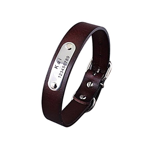 Personalized Pet Dog Collars with Custom Engraved Nameplate,Adjustable Cow Leather (Nameplate Leather)
