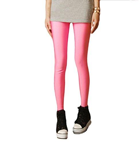 Leggings Élastiques et Brillants de Ro Rox (Rose pâle, Taille unique, FR 34-40)