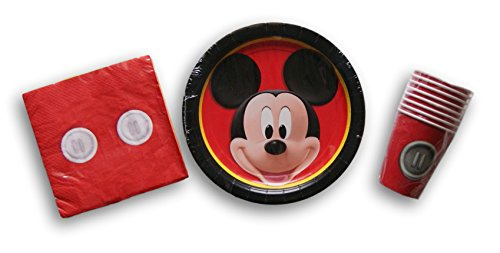 Classic Mickey Mouse Birthday Party Set - Plates, Napkins, Cups