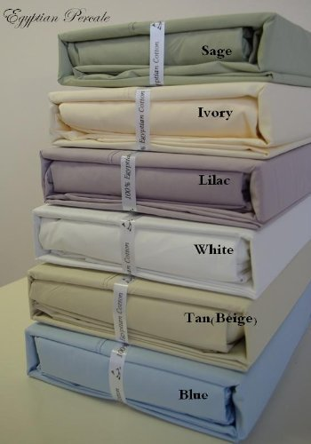sheetsnthings Solid Ivory Super Single Waterbed Percale sheet set 100% Cotton