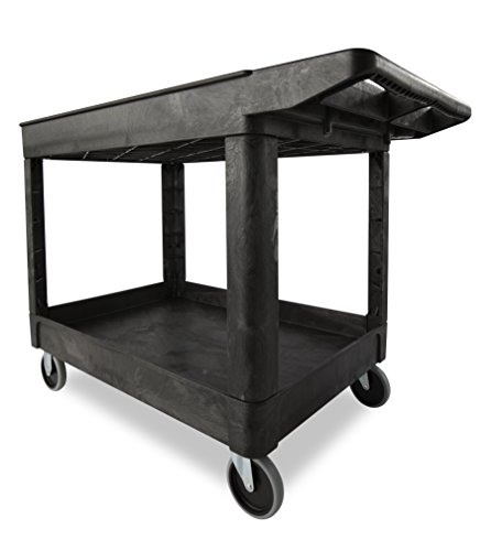 Rubbermaid  FG452089BLA Utility Cart Products Heavy-Duty Utility Cart, Lipped Shelves with Casters, 2-Shelf, Medium, Black - Heavy Duty Utility Cart