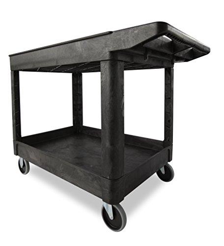 BLA Utility Cart Products Heavy-Duty Utility Cart, Lipped Shelves with Casters, 2-Shelf, Medium, Black (Rubbermaid 2 Shelf Utility Cart)