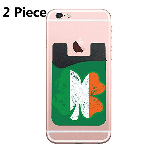 ZninesOnhOLD Clover Irish Adhesive Silicone Cell Phone Wallet/Card Holder for iPhone, Android, Samsung Galaxy, Most Smartphones - 2 Piece