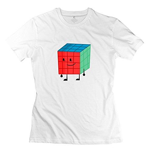 TGRJ Women's Tshirts - Classic Lovely Rubik's Cube Mirror White Size S