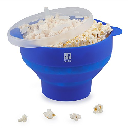 Premium Silicone Microwave Popcorn Popper,Foldable Healthy Hot air Popcorn Maker Free of PVC & BPA Easy to Use - Healthy Choice - 100% Platinum Silicone (Blue)