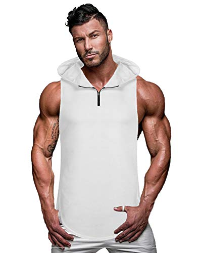 - COOFANDY Men's Workout Hooded Tank Tops Sleeveless Gym Hoodie Cut Off T Shirt Lace-up Bodybuilding Muscle Hoodie (L (US Medium), Type 2-White)