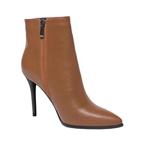 Brown VOCOSI High Booties Leather Women's Heels Classic Zipper Boots Toe Ankle Pointed xpACqwFTx