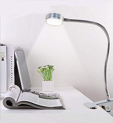 Clip Halogen Lamp - Dimmable LED Desk Lamp/Clip Lamp, Stepless Color Temperatures Control(2700k-6500k)-6 Brightness Levels,Button Control Pane,Silver,6W Dimmable Clip Lamp for Bedroom, Bed Headboard, Office
