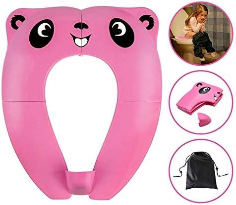 再利用可能なトイレシートカバーの幼児のトイレトレーニングトイレシートポータブル旅行便器クッション1セット (Color : Pink)