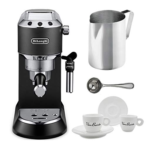 DeLonghi America, Inc EC685BK Dedica Deluxe Espresso, Black Includes Frothing Pitchers, Coffee Measure & 2 Espresso Cups Bundle