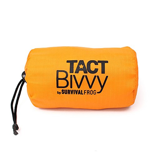 TACT Bivvy Emergency Survival Compact Sleeping Bag - Lightweight, Waterproof Bivy Sack Emergency Blanket with HeatEcho Thermal Space Blanket Material, Use in Survival Kit, Camping Gear & Survival Gear