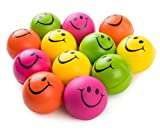 """Be Happy! Neon Colored Smile Funny Face Stress Ball - Happy Smiley Face Stress Balls Bulk Pack of 12 Relaxable 2.5"""" Stress Relief Smile Squeeze Balls Fun Toys Christmas Stocking Stuffer"""
